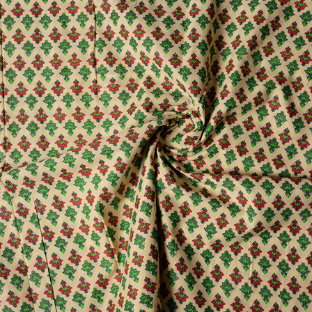 Cream-Red and Green Floral Design Block Print Cotton Fabric-14436