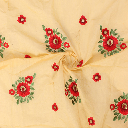 Cream-Red and Green Floral Design Silk Embroidery Fabric-60234