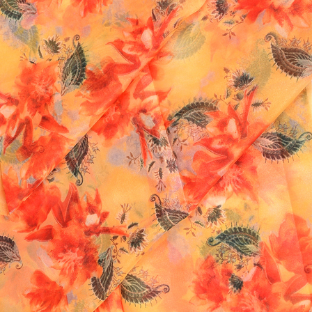 Cream-Red and Green Floral Design Silk Organza Fabric-50051