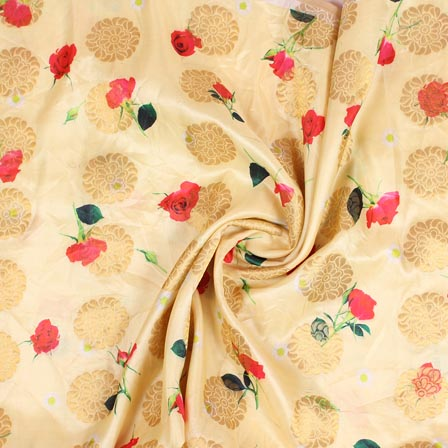 Cream Red and Green Floral Digital Banarasi Silk Fabric-9193