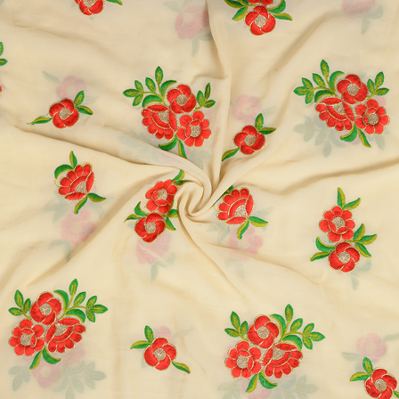 Cream-Red Green Floral Embroidery Chiffon Fabric-60374