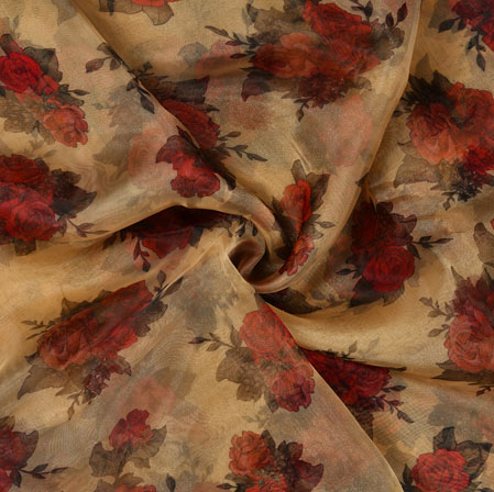 Cream Red and Green Floral Organza Silk Fabric-22116