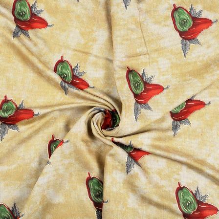 Cream-Red and Green Jam Cotton Silk Fabric-75072