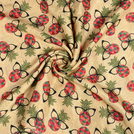 Cream-Red and Green Pineapple and Spack Design Kalamkari Manipuri Silk Fabric-16257