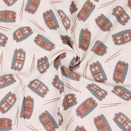 Cream Red and Green Musical Instrument Print Cotton Slub Fabric-15160