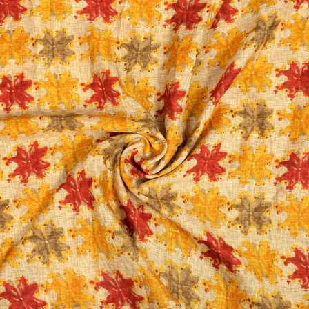 Cream-Red and Orange Floral Pattern Kalamkari Manipuri Silk Fabric-16255