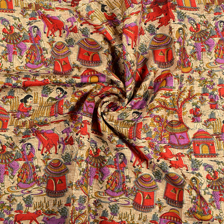 Cream-Red and Purple Village Kalamkari Manipuri Silk Fabric-16237