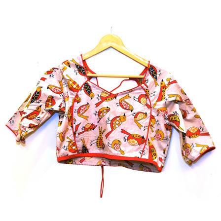 Cream-Red and Yellow Bird Kalamkari Print Cotton Blouse-30050