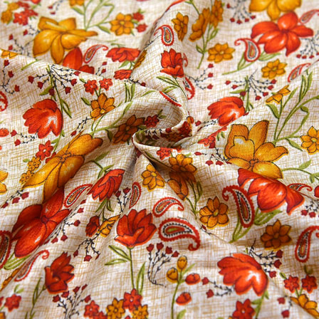 Cream-Red and Yellow Floral Design Kalamkari Manipuri Silk-16096