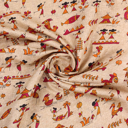 Cream Red and Yellow Manipuri Silk Fabric-16403