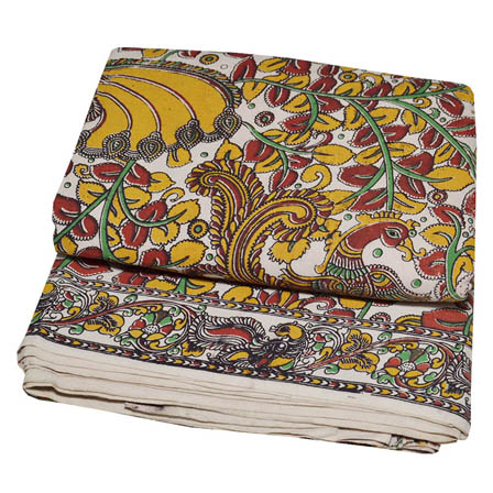 Cream-Red and Yellow Peacock Pattern Kalamkari Cotton Fabric-5765