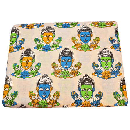Cream-Sky Blue and Green Buddha Shape Kalamkari Cotton Fabric-5788