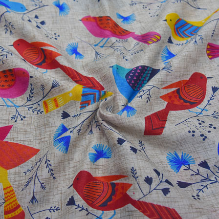 Cream-Sky Blue and Pink Bird Design Kalamkari Manipuri Silk-16093