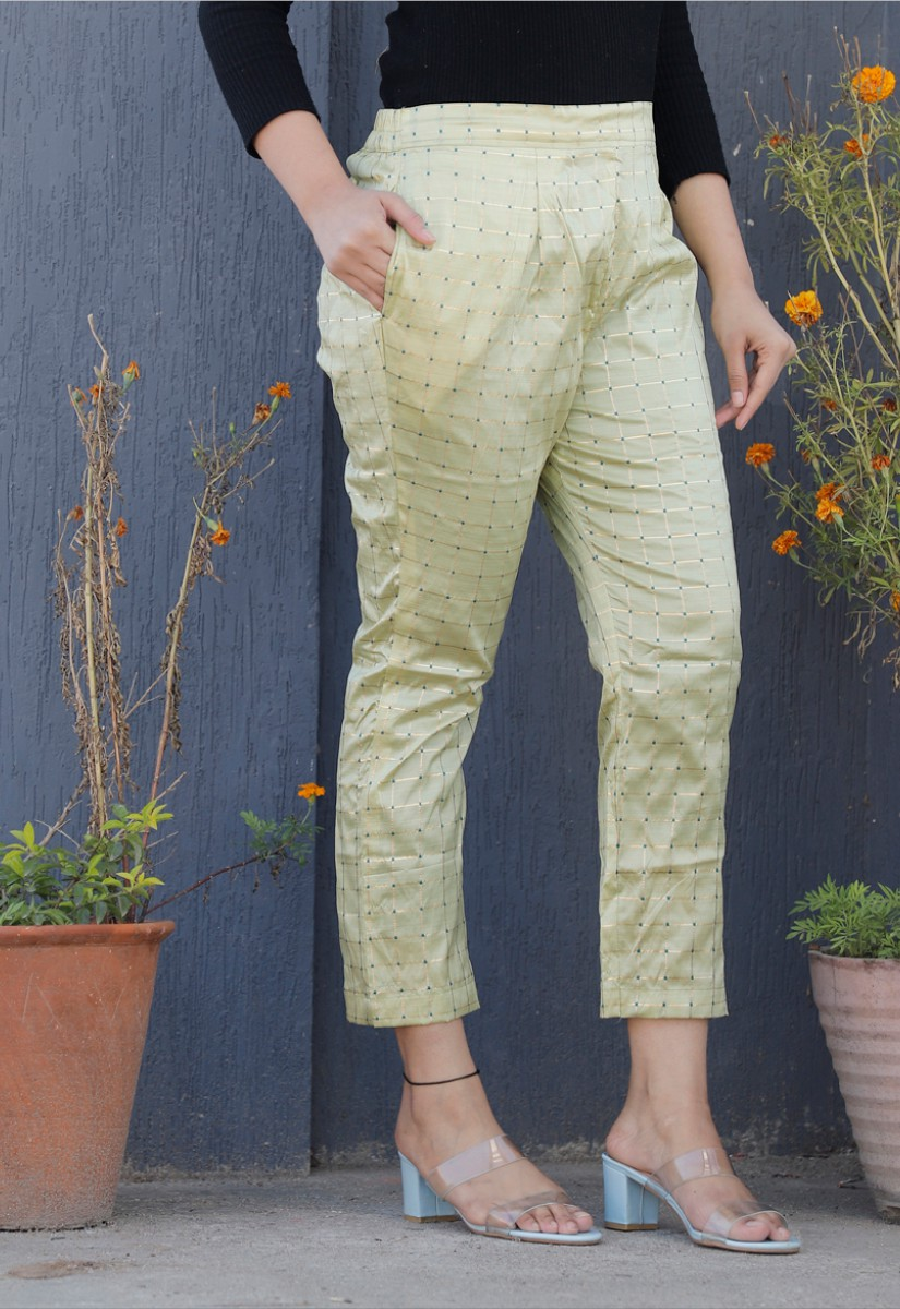 Cream White Brocade Silk Ankle Women Check Pant-34332