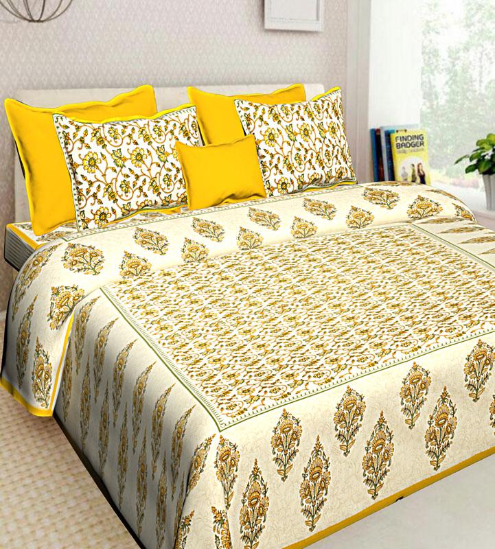 Cream Yellow Cotton Jaipuri Bedsheet-575