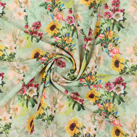 Cream Yellow Flower Georgette Silk Fabric-15250