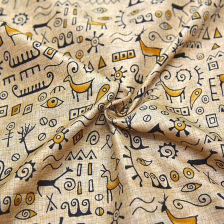 Cream-Yellow and Black Warli Design Kalamkari Manipuri Silk-16088
