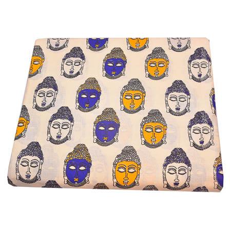 Cream-Yellow and Blue Buddha Pattern Kalamkari Cotton Fabric-5790