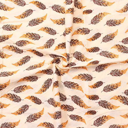 Cream-Yellow and Brown Leaf Design Block Print Cotton Fabric-14281