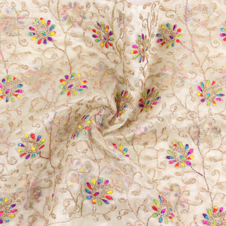Cream-Yellow and Golden Flower Organza Embroidery Fabric-51445