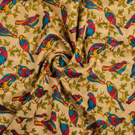 Cream-Yellow and Green Bird Kalamkari Manipuri Silk Fabric-16315