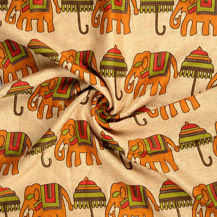 Cream-Yellow and Green Elephant Design Kalamkari Manipuri Silk Fabric-16217