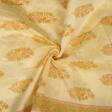 Cream-Yellow and Green Flower Design Silk Chanderi Fabric-9034