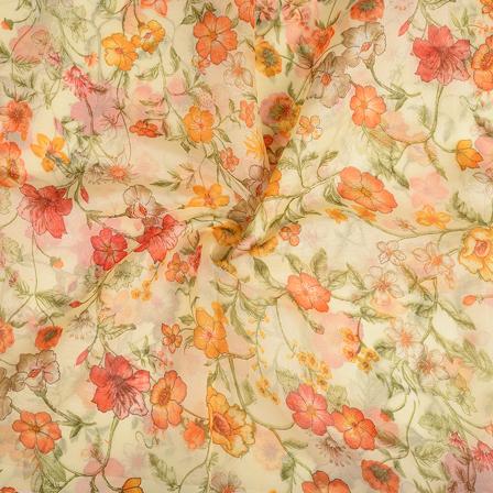 Cream-Yellow and Green Flower Silk Organza Fabric-51121