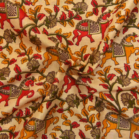 Cream-Yellow and Green Horse Design Kalamkari Manipuri Silk-16064