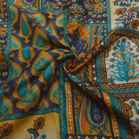 Cream-Yellow and Green Paisley Design Kalamkari Manipuri Silk-16109