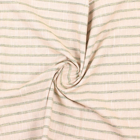 Cream Yellow and Green Stripe Handloom Khadi Cotton Fabric-40486