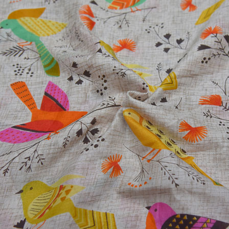 Cream-Yellow  and Orange Bird Design Kalamkari Manipuri Silk-16092