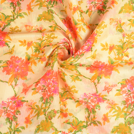 Cream-Yellow and Orange Flower Kota Doria Fabric-25111