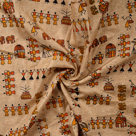 Cream-Yellow and Orange Warli Kalamkari Manipuri Silk Fabric-16344