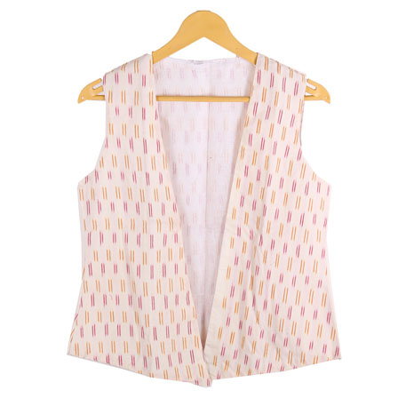 4a50bc520bb46 Buy Cream-Yellow and Pink Cut Sleeve Ikat Cotton Jacket-12219