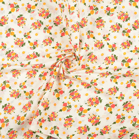 Cream-Yellow and Pink Flower Design Block Print Cotton Fabric-14451
