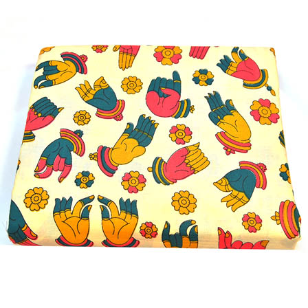 Cream-Yellow and Pink Hand Mudra Shape Kalamkari Cotton Fabric-5811