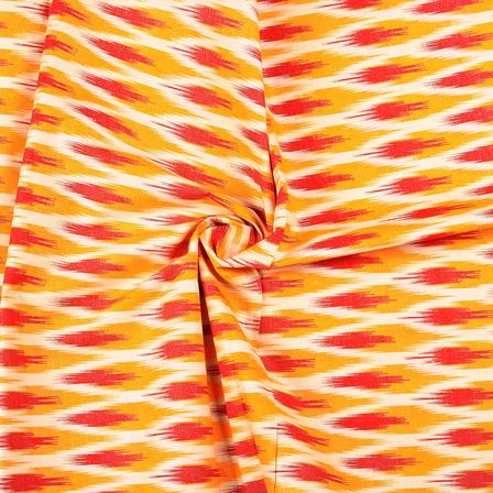 Cream-Yellow and Pink Ikat Print Cotton Kalamkari Fabric-10113
