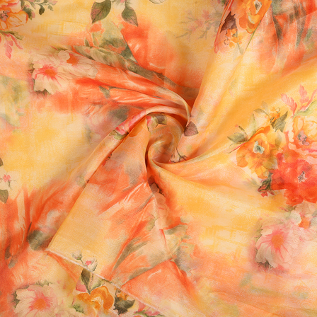 Cream-Yellow and Red Floral Silk Organza Fabric-51124