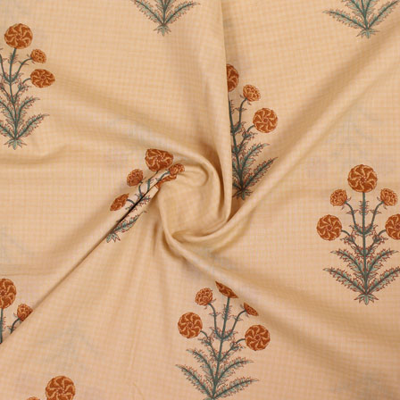 Cream Yellow mughal Block print Cotton Fabric-14855