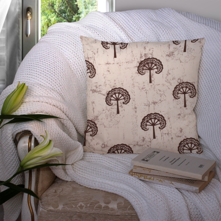 Cream and Black Cotton Cushion Cover-35007
