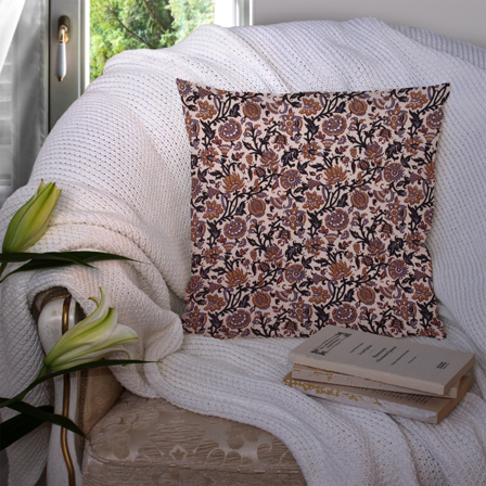 Cream and Black Cotton Cushion Cover-35022