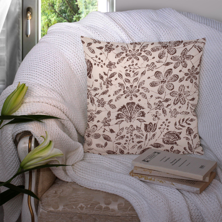 Cream and Black Cotton Cushion Cover-35035