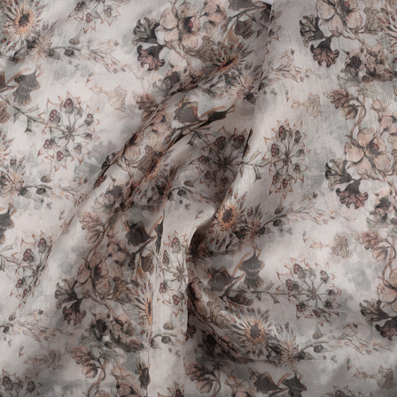Cream and Black Flower Organza Digital print Fabric-51355