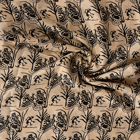 Cream and Black Kalamkari Manipuri Silk Fabric-16357