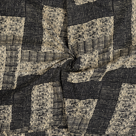 Cream and Black Unique Design Cotton Block Print Fabric-14485