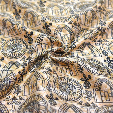 Cream and Black Warli Design Kalamkari Manipuri Silk-16153