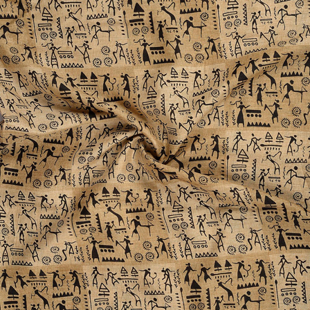 Cream and Black Warli Design Kalamkari Manipuri Silk Fabric-16222