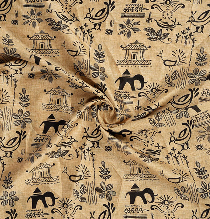 Cream and Black Warli Design Kalamkari Manipuri Silk Fabric-16223
