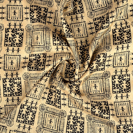Cream and Black Warli Pattern Kalamkari Manipuri Silk Fabric-16224